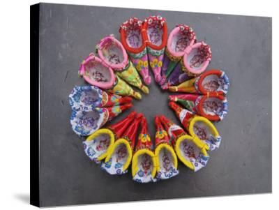 China, Traditional Colorful Embroidered Shoes for Bound Feet-Keren Su-Stretched Canvas Print