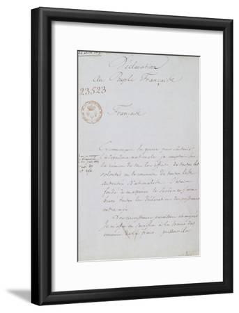 Acte d'abdication de Napoléon, 22 juin 1815--Framed Giclee Print