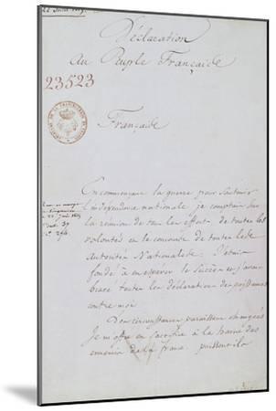 Acte d'abdication de Napoléon, 22 juin 1815--Mounted Giclee Print