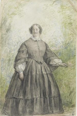 Femme vêtue d'une robe à crinoline grise, devant un bosquet-Georges Rouget-Stretched Canvas Print