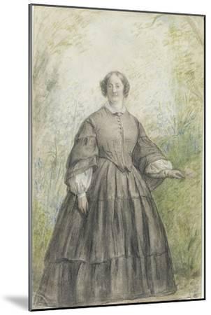 Femme vêtue d'une robe à crinoline grise, devant un bosquet-Georges Rouget-Mounted Giclee Print