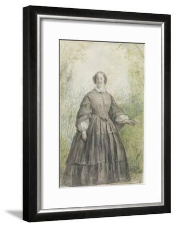 Femme vêtue d'une robe à crinoline grise, devant un bosquet-Georges Rouget-Framed Giclee Print