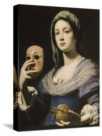 Allégorie de la Simulation : femme tenant un masque et une grenade-Lorenzo Lippi-Stretched Canvas Print