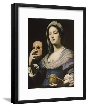 Allégorie de la Simulation : femme tenant un masque et une grenade-Lorenzo Lippi-Framed Giclee Print