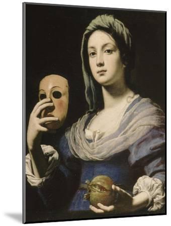 Allégorie de la Simulation : femme tenant un masque et une grenade-Lorenzo Lippi-Mounted Giclee Print