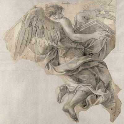 Ange emportant l'Arche d'alliance-Charles Le Brun-Stretched Canvas Print