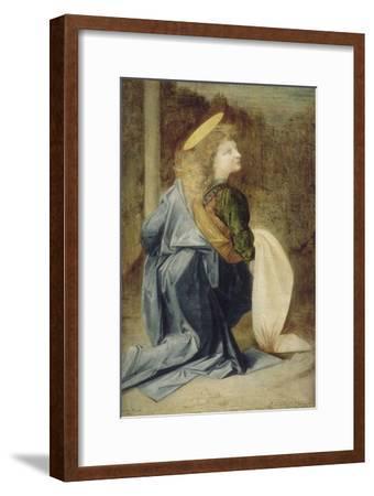 Copie d'après Verrocchio : détail d'un ange dans le baptême du Christ (Florence, Offices)-Andrea del Verrocchio-Framed Giclee Print
