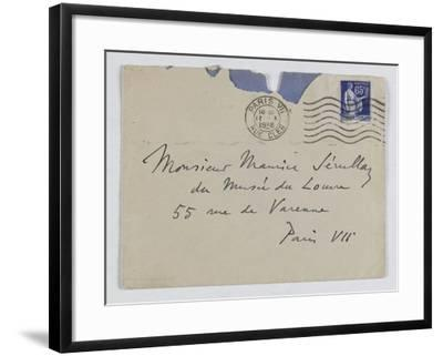 Envelope of Paul's Letter to Maurice Jamot Serullaz--Framed Giclee Print