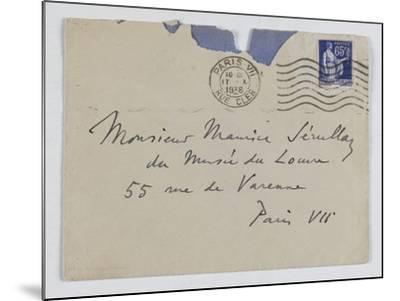 Envelope of Paul's Letter to Maurice Jamot Serullaz--Mounted Giclee Print