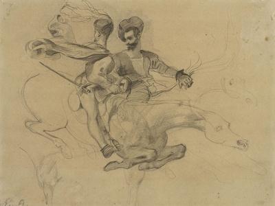 Faust et Méphisto galopant dans la nuit du Sabbat; étude pour la suite de 17 lithographies-Eugene Delacroix-Framed Giclee Print