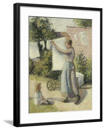 Femme étendant du linge-Camille Pissarro-Framed Giclee Print