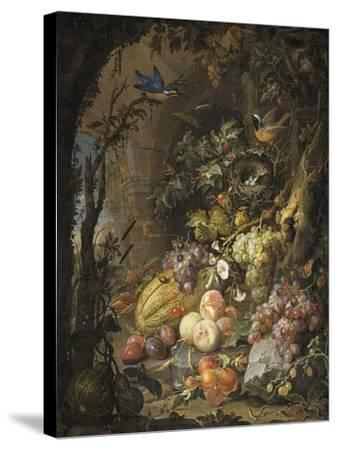 Fleurs, fruits, oiseaux et insectes dans un paysage avec ruines-Abraham Mignon-Stretched Canvas Print