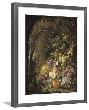 Fleurs, fruits, oiseaux et insectes dans un paysage avec ruines-Abraham Mignon-Framed Giclee Print