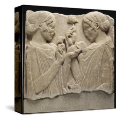 """Fragment de stèle funéraire (ou votive) dite de """"l'Exaltation à la fleur"""" (Démeter et Coré ?)--Stretched Canvas Print"""
