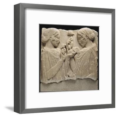"""Fragment de stèle funéraire (ou votive) dite de """"l'Exaltation à la fleur"""" (Démeter et Coré ?)--Framed Giclee Print"""