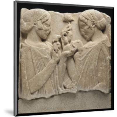 """Fragment de stèle funéraire (ou votive) dite de """"l'Exaltation à la fleur"""" (Démeter et Coré ?)--Mounted Giclee Print"""