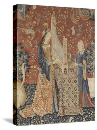 Tenture de la Dame à la Licorne : l'Ouie--Stretched Canvas Print