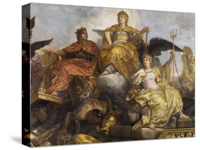 "Galerie des Glaces : plafond, compartiment central ""-Charles Le Brun-Stretched Canvas Print"