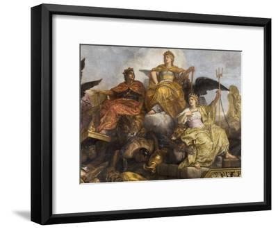 """Galerie des Glaces : plafond, compartiment central """"-Charles Le Brun-Framed Giclee Print"""