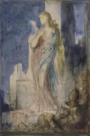 Hélène sur les remparts de Troie-Gustave Moreau-Stretched Canvas Print
