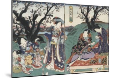 Quartier des maisons de plaisir à l'aube-Utagawa Kunisada-Mounted Giclee Print