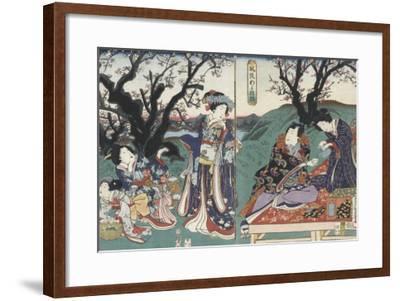 Quartier des maisons de plaisir à l'aube-Utagawa Kunisada-Framed Giclee Print