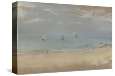 Au bord de la mer, sur une plage, trois voiliers au loin-Edgar Degas-Stretched Canvas Print