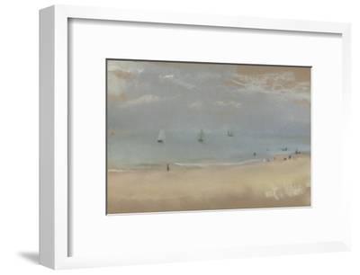 Au bord de la mer, sur une plage, trois voiliers au loin-Edgar Degas-Framed Giclee Print