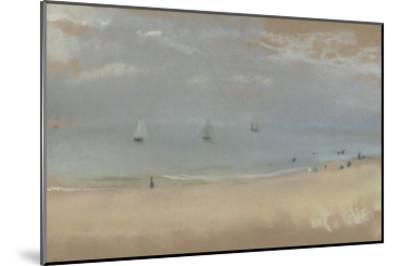 Au bord de la mer, sur une plage, trois voiliers au loin-Edgar Degas-Mounted Giclee Print