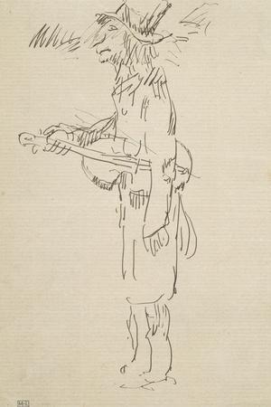 Caricature, violoniste, profil gauche-Pierre Puvis de Chavannes-Stretched Canvas Print