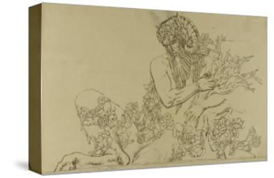 """Carton 49. Etude du Grand Pan pour """"Jupiter et Sémélé""""-Gustave Moreau-Stretched Canvas Print"""