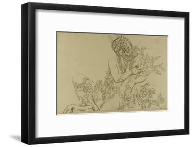 """Carton 49. Etude du Grand Pan pour """"Jupiter et Sémélé""""-Gustave Moreau-Framed Giclee Print"""