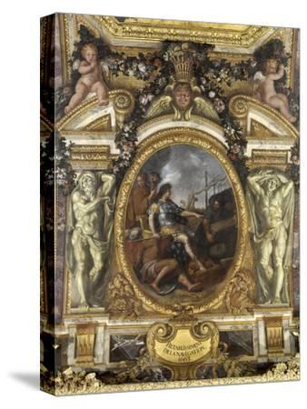 Ceiling of the Hall of Mirrors: Restoring Navigation-Charles Le Brun-Stretched Canvas Print