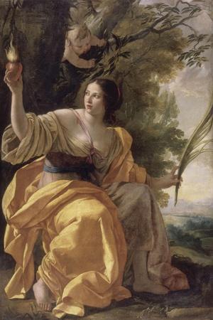 La Charité (autrefois : la Foi)-Simon Vouet-Stretched Canvas Print