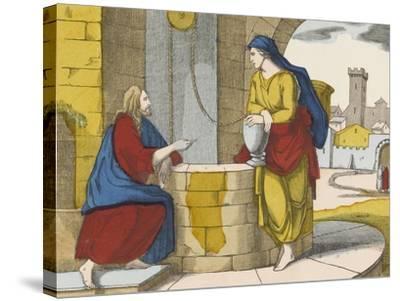 Jésus et la Samaritaine--Stretched Canvas Print
