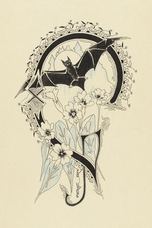 Lettre  ornée  G , avec une chauve-souris et des fleurs-Pierre Brun-Stretched Canvas Print