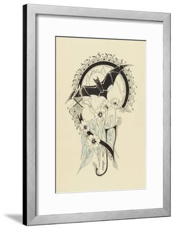 Lettre  ornée  G , avec une chauve-souris et des fleurs-Pierre Brun-Framed Giclee Print
