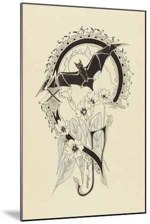 Lettre  ornée  G , avec une chauve-souris et des fleurs-Pierre Brun-Mounted Giclee Print
