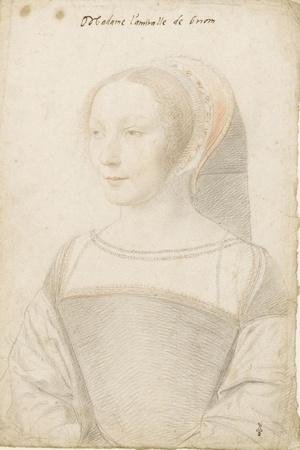 Madame l'amiralle de Briom, Philippe Chabot, amiral, sire de Brion (vers 1510-vers 1565)-Jean Clouet-Stretched Canvas Print