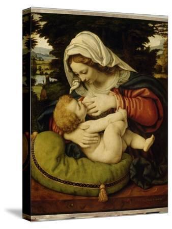La Vierge au coussin vert-Andrea Solario-Stretched Canvas Print