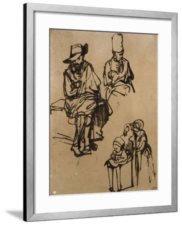 Homme assis, homme en buste coiffé d'un bonnet, et deux enfants-Rembrandt van Rijn-Framed Giclee Print