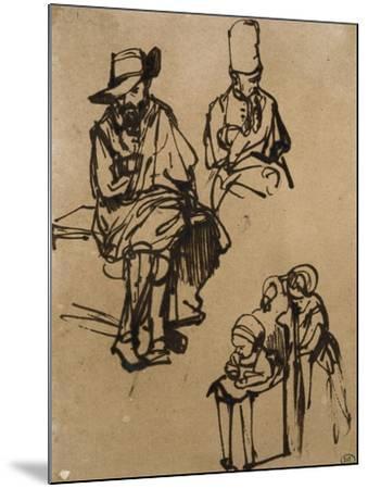Homme assis, homme en buste coiffé d'un bonnet, et deux enfants-Rembrandt van Rijn-Mounted Giclee Print