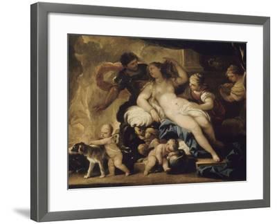 Mars et Vénus dans la forge de Vulcain-Luca Giordano-Framed Giclee Print