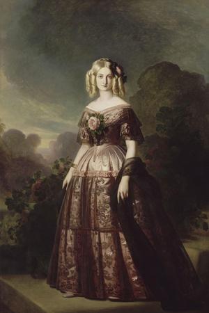 Marie-Caroline-Auguste de Bourbon-Salerne, duchesse d'Aumale (1822-1869)-Franz Xaver Winterhalter-Stretched Canvas Print