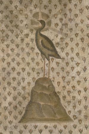 Mosaïque de sol : Le Phénix sur un semis de boutons de roses--Stretched Canvas Print