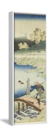 Miroir des vers chinois et japonais : Tokusa gari (paysan portant des joncs)-Katsushika Hokusai-Framed Stretched Canvas Print