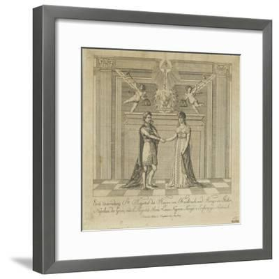 Napoleon and Marie Louise, the Covenant of Marriage--Framed Giclee Print