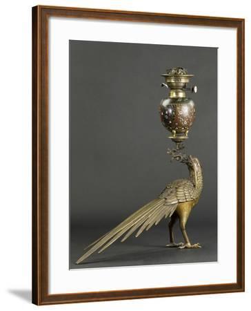 Lampe à pétrole soutenue par un faisan--Framed Giclee Print