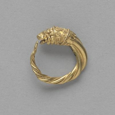 Pair of Earrings, Ring Terminated by a Gold Lion Head--Stretched Canvas Print
