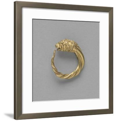 Pair of Earrings, Ring Terminated by a Gold Lion Head--Framed Giclee Print
